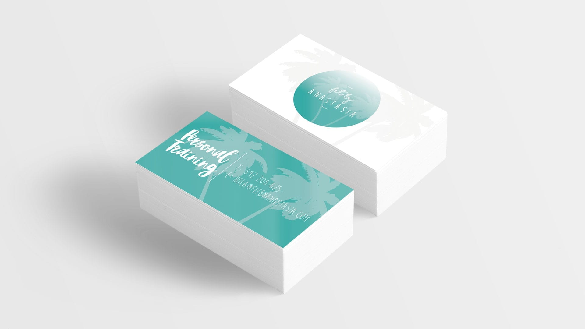 logo design on business cards mockup 3