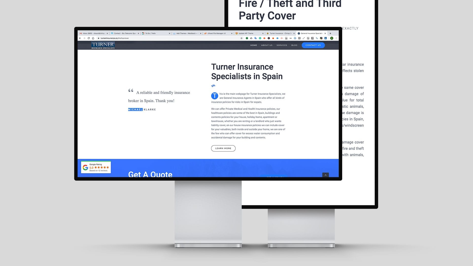 insurance mockup of website design